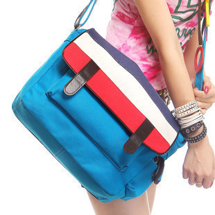 Hot-selling classic brief preppystyle bag messenger bag canvas school bag messenger bag(China (Mainland))