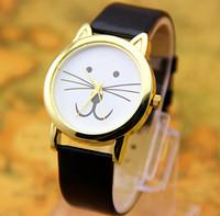 8 colors Leather Cat watches Fashion Leather Quartz watch Women Dresses Watches 1pcs/lot