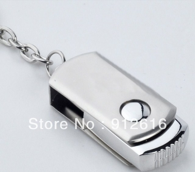 Free Shipping / Stainless steel rotating U disk special genuine creative USB Flash Drives U021(China (Mainland))