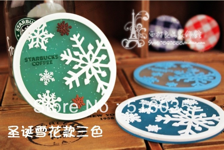 Free shipping christmas snow table skidproof coffee Cup mat Insulation Non-slip Silicone pad coaster Cup mat 6pcs/lot(China (Mainland))