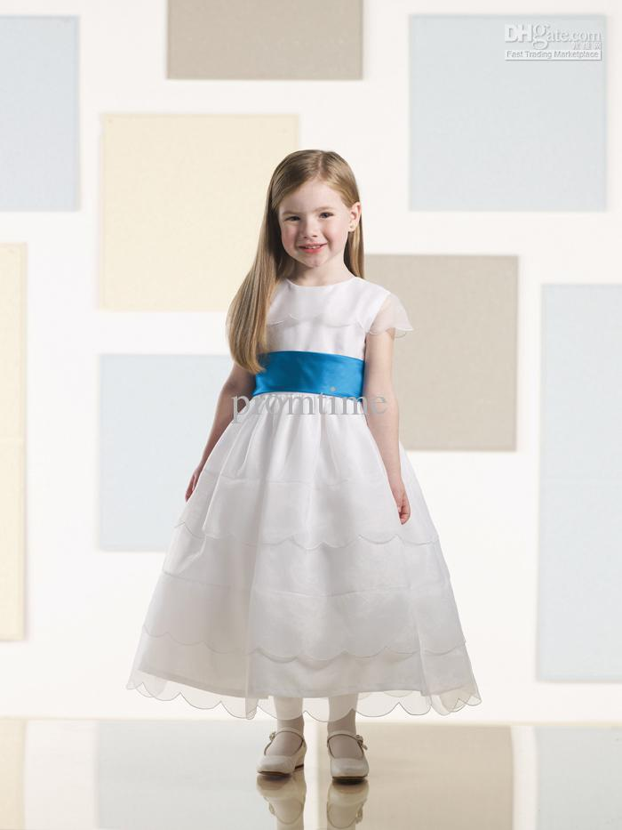 Lovely Pretty Cap Sleeve Ribbon Sash Tea-Length Ivory Organza Flower Girl Dresses F351(China (Mainland))
