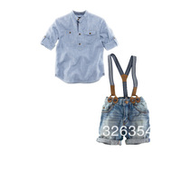 2013 hot sell high quality Baby bodysuit  jeans short+shirt+ suspenders boy/girl suit 3352