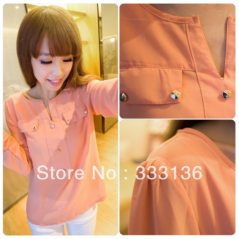 Real pictures with model 2013 summer gold buckle small V-neck pocket decoration female long-sleeve chiffon shirt 8062(China (Mainland))