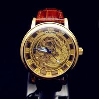 Free Shipping! Mens black leather Gold Skeleton Hand Wind Mechanical Watch, Dress for men/women Watches,Original Brand Winner