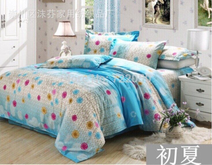 Supply cheap bed sets / bedding sets small heart and flower cotton / polyester bed sets(China (Mainland))