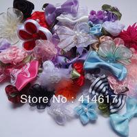 50pcs lots mix  Ribbon bow flowers appliquest craft A087