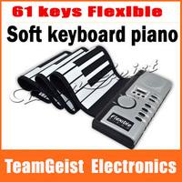 8pcs/lot Wholesale Digital Electric Piano 61 Key Flexible Hand Roll Up 61K Soft KeyBoard Piano with 128 tones & 100 rhythms