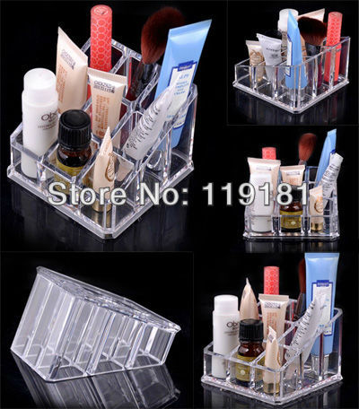 4x Clear 9 Grid Lipstick/Lip gloss/Mascara/Nail Polish Holder Display Stand Rack Cosmetic Organizer Makeup case Crystal Acrylic(China (Mainland))