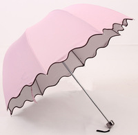 Fashion Summer 2013 Folding umbrella ruffle Parasol super anti-uv sun protection sunscreen Rain Shelter Promotional Free Ship