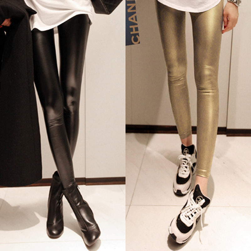 Elastic 2013 ultra slim faux leather pants shiny legging glossy japanned leather pants 1358(China (Mainland))