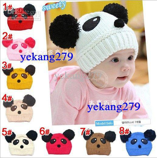 8 Colors Winter Boys Girls Children Hats Baby Wool Caps Winter Warm Protect The Ears Panda Knit Cap(China (Mainland))