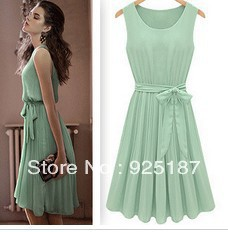 Free shipping, 2013 summer new European style ladies sleeveless vest skirt mint green round neck pleated chiffon dress child(China (Mainland))
