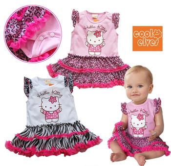 wholesale  Free Shipping   2013 New Arrive Baby cute girl Tutu Dress  Kids bow hello kitty  Dress swan dresses Chiffon Children
