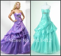 Hot Sale 2012 New Design High Quality Ball Gown Fashionable Lace up Prom Dress Custom Made