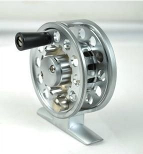 DHL FedEx Free shipping (20pcs/lot) Aluminum Die Casting Fly Fishing Ice fishing wheel Reels 2 Precision bearing, wholesale(China (Mainland))