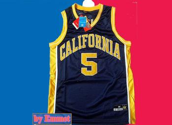 Free shipping Wholesale Embroidery logos Cheap ncaa basketball jerseys California #5 Jason kidd college Basketball Jersey
