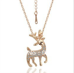 18KGP Deer Necklace 18K K Gold Plated Fashion Jewellery Nickel Free Necklace Rhinestone Crystal SWA ElementsB0055(China (Mainland))
