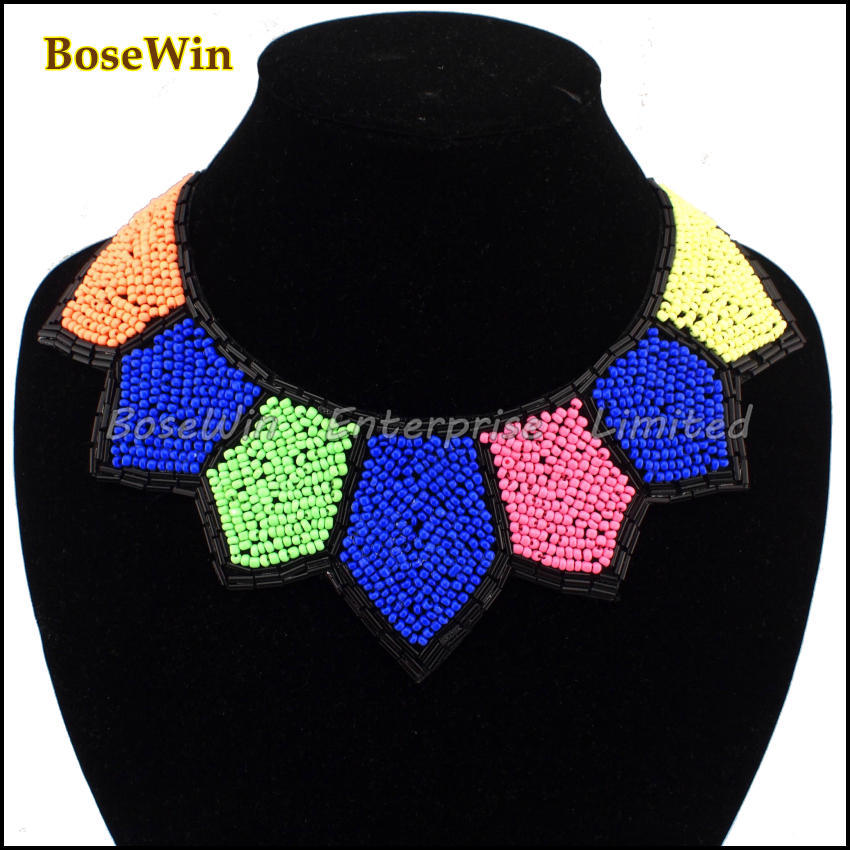 Fashion Gun Black Chain Exaggerated All-Match Handmade Multicolor Beads Bib Chokers Collars Necklaces For Women Dress CE1060(China (Mainland))