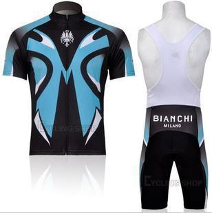 Hot sale BIANCHI bib shorts and jersey short sleeeve bike clothes riding wear black cyclng jersey and pants shorts bike clothing(China (Mainland))