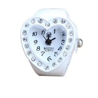 New Heart Type Girls Manmade Stone Diamond Jewellery Finger Ring Watch NI5L
