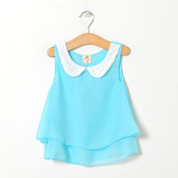Free Shipping 2013 Summer Girls One-Piece Dress With Paillette Collar Children Colthes For Kids Baby t-shirts, Yellow /Blue(China (Mainland))
