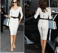 Polyester fiber women's dress 2013 hot fashion women's dress V neck solid white sheath Empire knee lenght office business dress