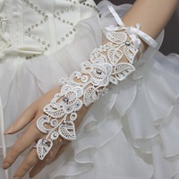New arrival bandage Beaded white lace  fingerless bridal  wedding prom party gloves