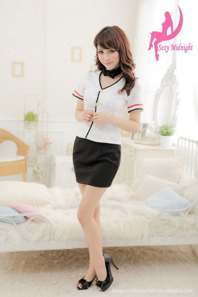 Free shipping role Playing sexy lingerie women's skirt dress stewardess uniform temptation black free size wholesale/retail(China (Mainland))