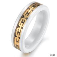 Men Boy Fashion accessories  gift  gold carbon fiber space ceramic ring wj190