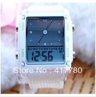 Free Shipping Vintage Table Waterproof Electronic Watch Jelly Table Colorful Lights Sports Watch(China (Mainland))
