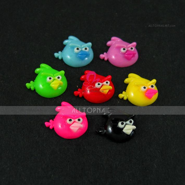 MIX Coulor Angr Bird 3D Resin Nail Art Sticker 200pcs/lot Nail Art Decoration(China (Mainland))