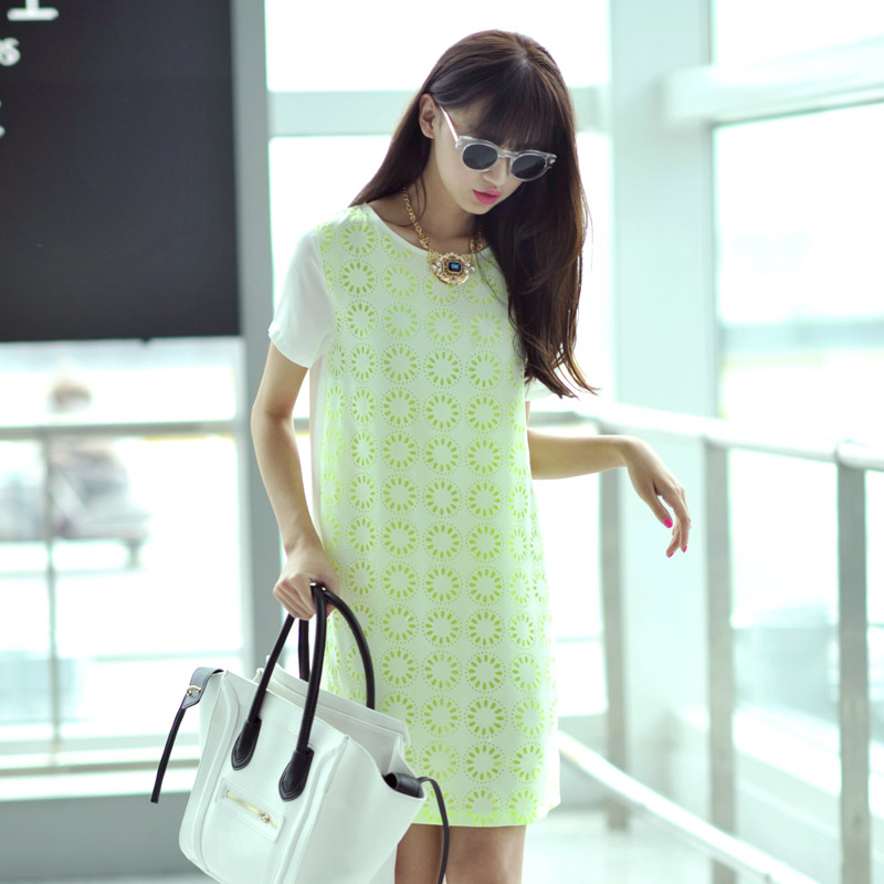 Free shipping summer women's small flower patchwork short-sleeve h 2013 chiffon one-piece dress skirt(China (Mainland))