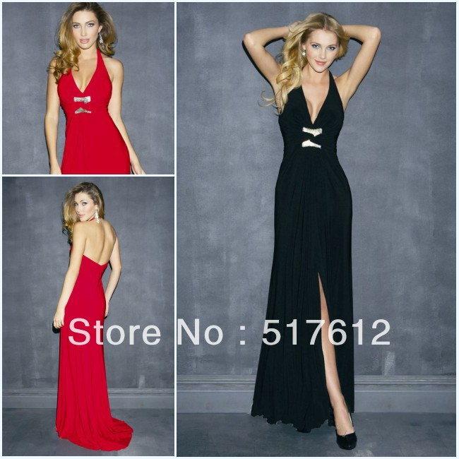 Sexy V-Neck Halter High Slit Floor Length Black Jersey Backless Evening Gown(China (Mainland))