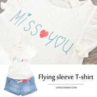 Fresh white short-sleeve T-shirt small butterfly sleeve letter fashion female child summer