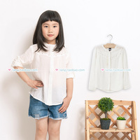 Children's clothing white stand collar long-sleeve shirt sparkling diamond chiffon breathable female spring summer child