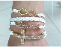 4 in one wrap Love Cross Infinity Leather White Bracelet Crystals Rhinestone