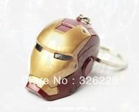 Free Shipping Iron Man head car Key Ring / Chain, Stereo Male iron men Keychain gift