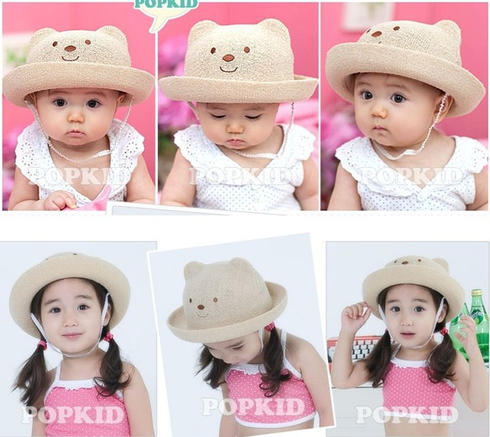 NEW bear shaped Lovely Boy girl Hats,summer baby hats, Knitted caps children anti-sun hats, Free shipping(China (Mainland))