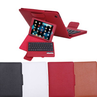 Free Shipping High Quality Litchi Stand Leather Case with Detachable Bluetooth Wireless Keyboard For iPad Mini