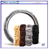 Retail 1pcs/lot Sheepskin Fur Leather Wool Car Steering Wheel Cover Free Shipping