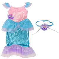 wholesale Female child performance wear mermaid one-piece dress - belt hair accessory  discount hawaiian dresses
