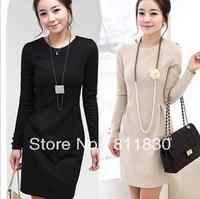 Free Shipping New 2014 Fashion Black Apricot Color Career Lady Autumn & Winter Dress Women's Long Sleeve Dress S M L XL