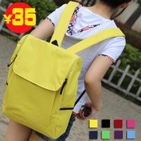 2013 solid color simple big capacity double-shoulder nylon backpack school bag backpack casual lovers bag