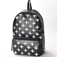 Cross PU women's backpack middle school students school bag preppy style vintage backpack