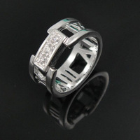 Free Shipping Factory Price Sterling Silver 925 Ring Crystal Ring Fashion Jewelry Wholesale Nickle Free Antiallergic FSR015