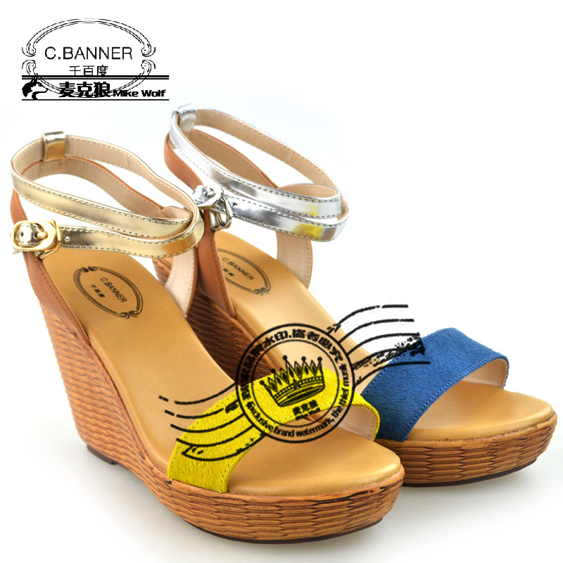 C.banner women's shoes 2013 wedges straw braid the end of female sandals a3313613b08b12(China (Mainland))