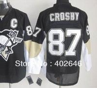 Ice Hockey Penguins #87 Sidney Crosby black jerseys, size M/48, L/50, XL/52, XXL/54 available