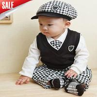2014 boy clothing set 5sets/lot arrival children high quality striped clothing set(hat+tie+top+vest+pants)5pcs suit baby lothes