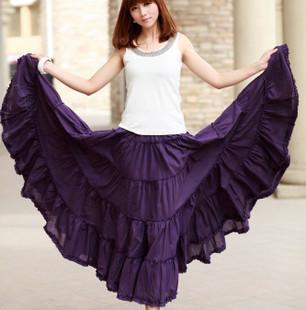 womens 15 solid color 10 yards large hem Gypsy Bohemia BOHO full circle long cotton skirt dance skirts Spanish purple green(China (Mainland))