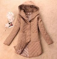 2013 women's autumn and winter spring long-sleeve hood dimond plaid medium-long cotton-padded jacket slim thin wadded jacket